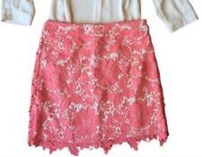 Ann Taylor Loft Petite Coral Pink Crochet Floral skirt SZ 10P