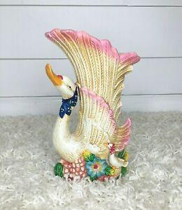 Vintage-Goose-Swan-Vase-Planter-Pot-Bud-Ceramic-Porcelain