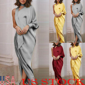 Womens-Long-Boho-One-Sleeve-Cocktail-Formal-Party-Prom-Ball-Gown-Maxi-Dress
