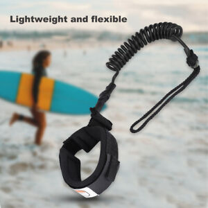 Black Surfing String Surfboard Ankle Leash Leg Rope Coiled Stand Up Paddle Board