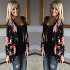 Women Long Sleeve Knitted Cardigan Loose Sweater Outwear Jacket Flower Coat
