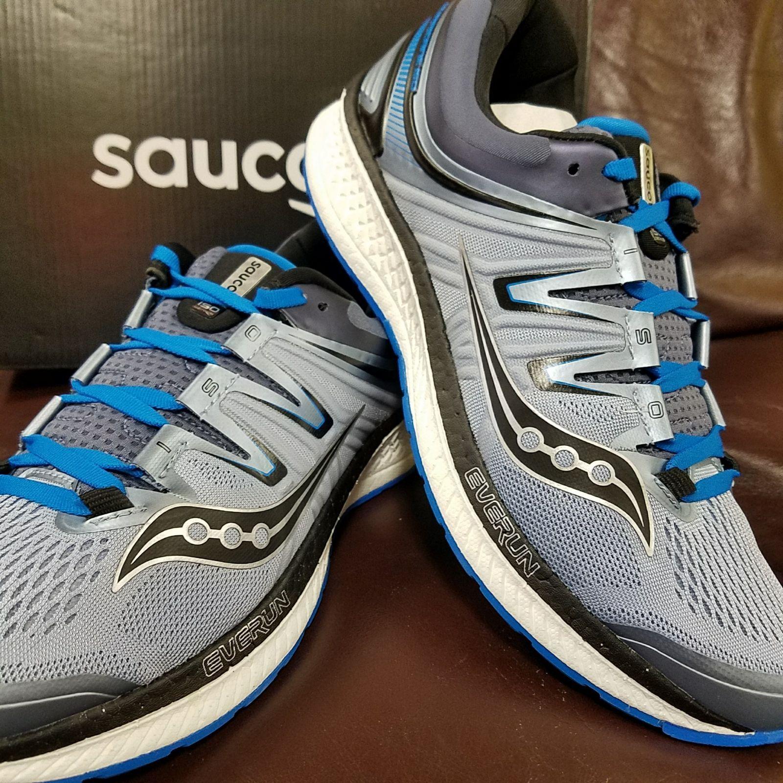 A estrenar en 4 caja SAUCONY HURRICANE ISO 4 en Para Hombre Zapatillas Para Correr Gris Azul Negro 26bb7f