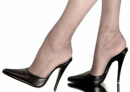 Women Men Pointed Toe Mules Leather Black Slippers Slingback Pump Nightclub Shoe
