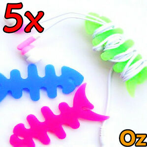5x-Fishbone-Cord-Winder-10-Colours-Silicon-Earphone-Cable-Roller-Wire-Spooler