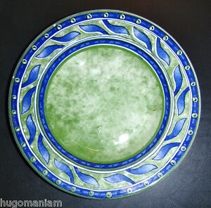 Image is loading Pier-1-One-Italy-Versailles-Pasta-Bowl-Green- & Pier 1 One Italy Versailles Pasta Bowl Green Blue Leaves Scrolls ...