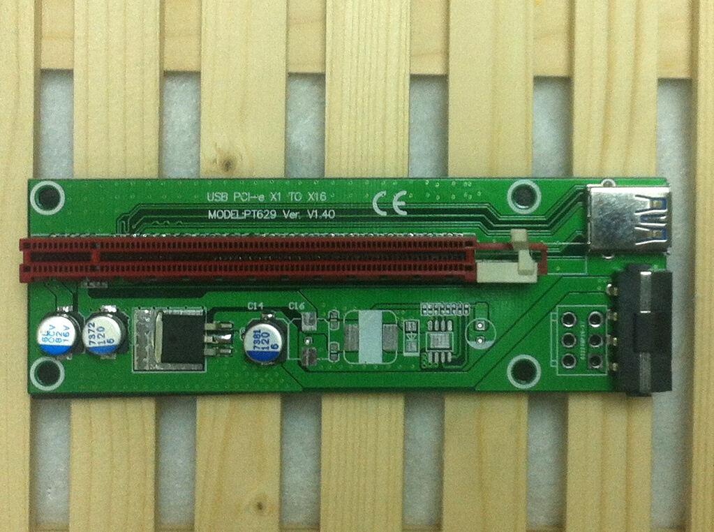 hudiemm0B PCI-E Adapter Riser Card 006c USB 3.0 PCI-E 1X to 10X Extender Adapter Riser Card with 6Pin Power Cable