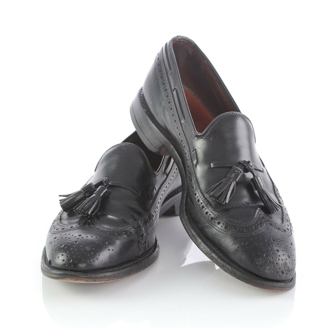 Allen Edmonds Manchester Black Leather Brogue Wingtip Tassel Loafers shoes Men 9
