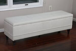 EXTRA LARGE End of Bed QUEEN SIZE Tufted Storage Ottoman BEIGE