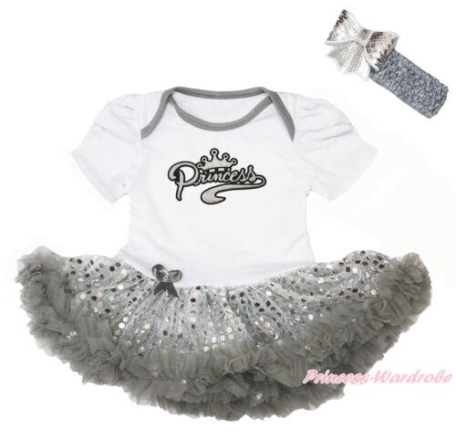 Daddy Little Princess Crown Pink Bodysuit Bling Sequins Girl Baby Dress NB-18M