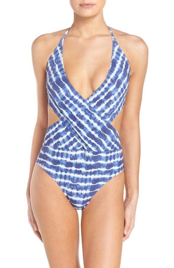 NWT  215 Sz Small S Tory Burch Tie Dye Wrap One Piece Swimsuit