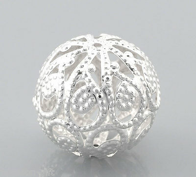 "30PCs Silver Plated Hollow Ball Beads 20mm(6/8"") Dia"