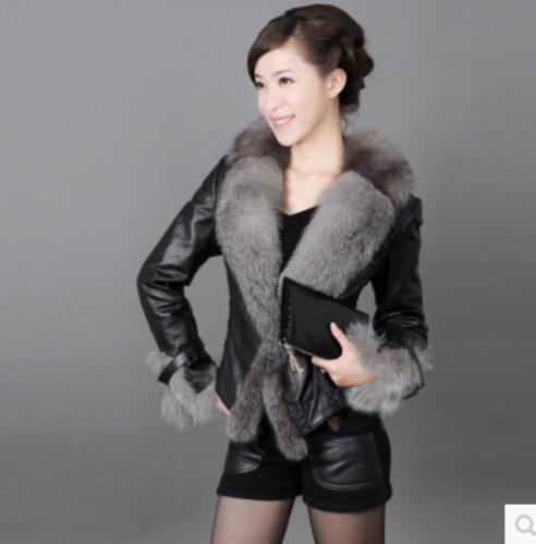 en d'hiver femme Grande cuir fourrure pour court Vêtements de d'uniforme veste chaud fourrure en Parka Manteau cqawpBn0Wx