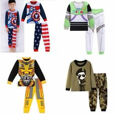 Boys sleepwear Crane Cartoon pattern Long-sleeved trousers pajamas set 2Y-7Y