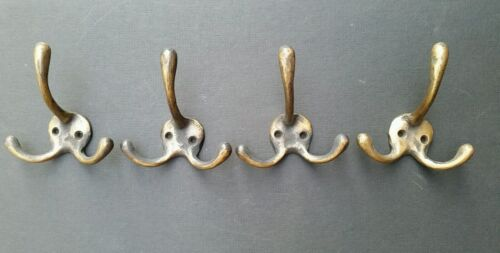 "4 Solid Antique Style Brass Triple Coat Hat Towel Hooks  3-1//4/"" x 3/""  #C2"