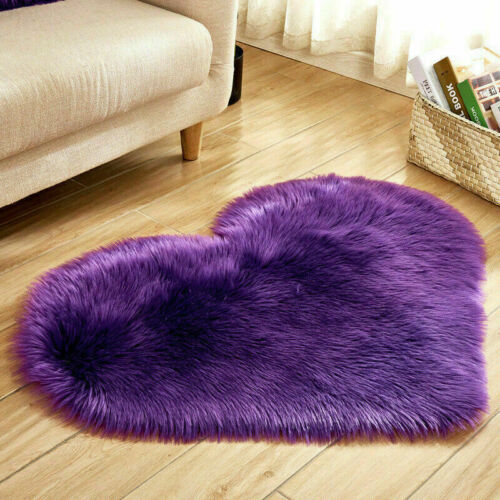 Teppich Plüsch Teppiche Schaffell Herzform Wohnzimmer Deko Einfarbig Rutschfest