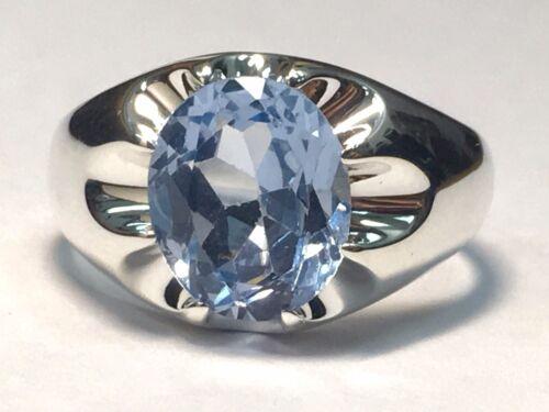 Argent sterling synthétique Pierre porte-bonheur homme Belcher Style Ring
