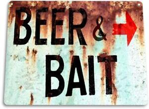 Beer & Bait Fishing Bait Retro Box Tackle Fish Rustic Metal Decor Sign