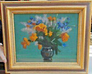 Ancien-Tableau-Bouquet-de-Fleurs-Jac-Lem-dedicace-peintre-Normand-huile-toile