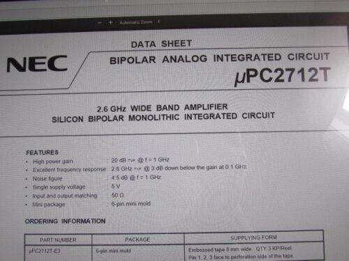 UPC2712T NEC RF Amplifier 2.6GHz 5.5V 6-Pin Super Mini-Mold Quantity: 10 Piece