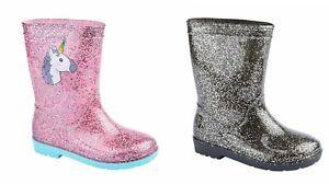 Girls-Pink-Sparkle-Unicorn-Black-Glitter-Wellies-Size-6-12-Wellington-Children