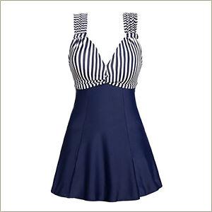 Womens-Stirped-Swimdress-Ladies-Deep-V-Swimwear-One-Piece-Swimsuit-Aus-sz-10-18