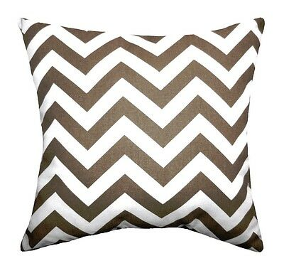 Brown and White Pillow, Zig Zag Italian Brown Chevron Accent Throw Pillow