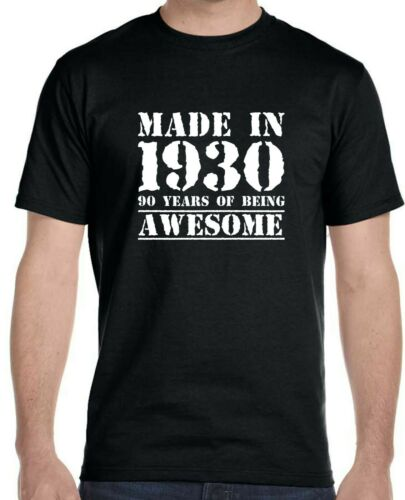 90 Years of Being Awesome Birthday T-Shirt Made in 1930