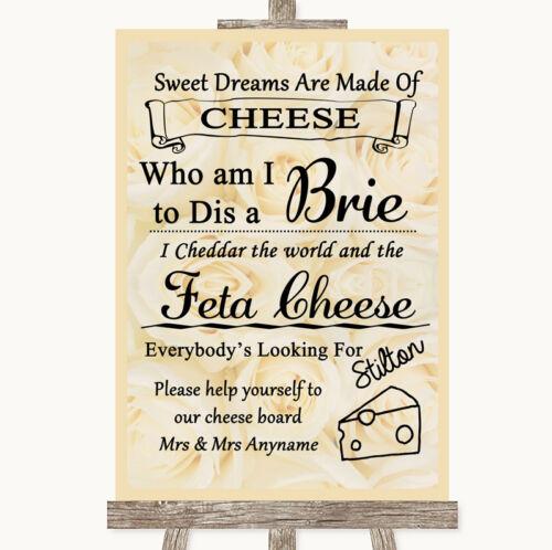 Crème Roses Cheese Board chanson Personnalisé Mariage Signe
