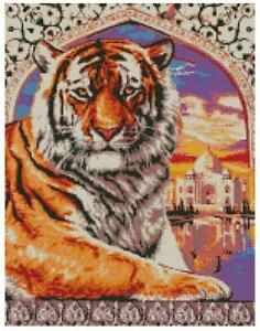 Cross Stitch Chart Pattern Tiger Portrait