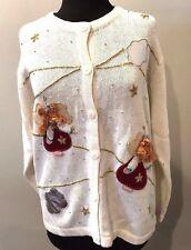 ONE RESOURCE Womens White Angel Christmas Sweater Size 2X Ugly Beautiful Tacky
