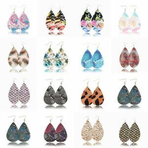 New-Handmade-Women-Leather-Earrings-Boho-Leaf-Teardrop-Dangle-Ear-Stud-Jewelry