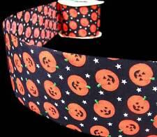 "3 Yds Halloween Orange Pumpkins Black Craft Ribbon 2 5/8""W"