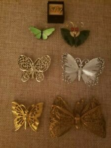 Lot of 7 Vintage BUTTERFLY Brooch Pins & Pierced Earring Jade Enamel