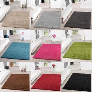 Teppich-Hochflor-Shaggy-Teppiche-Langflor-Uni-Farben-Wohnzimmer-Pflegeleicht