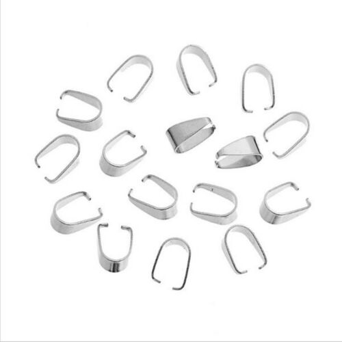 500 x Silver Plated Pendant Connector Pinch Clasp Bails DIY Jewelry 9mm