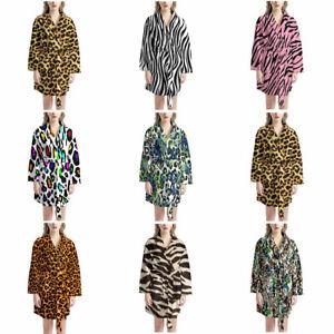 Zebra Leopard Grain Soft Bathrobe Lightweight Spa Kimono Bathrobe for Women Mens