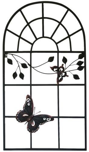 Nostalgie Stallfenster 97x55cm Fenster Metall Rahmen Antik-Stil Schmetterling