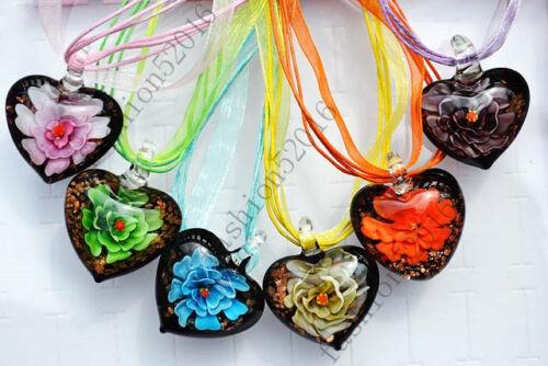 FREE Wholesale Lot 6pcs cœur fleur en fait à la main Verre Pendentifs Collier Fashion