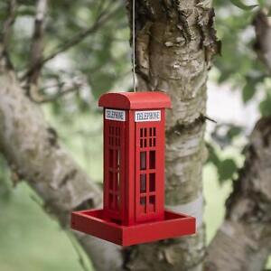 Humble Hanging Red Telephone Box Mangeoire Nouveauté Maison Britannique Station D'alimentation-afficher Le Titre D'origine