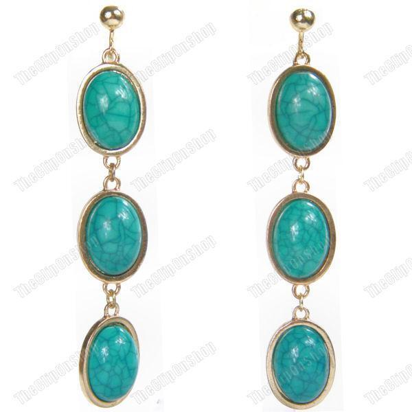 "CLIP ON 3.5""long RETRO FAUX TURQUOISE DROP EARRINGS oval GOLD/BLUE screw clips"