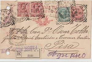 ITALY 1906 RGISTERED POSTAL STATIONERY COVER FROM GENONA TO PISA - Italia - ITALY 1906 RGISTERED POSTAL STATIONERY COVER FROM GENONA TO PISA - Italia