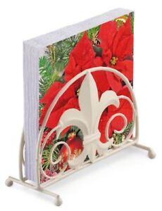 Poinsettia-Noel-20-x-3-plis-Serviettes-en-papier-amp-FLEUR-DE-LYS-porte-SET
