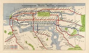 1924 Map New York NY Subway Railroad Interborough Rapid Transit Vintage Poster