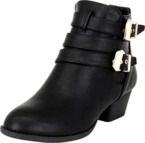 Top Moda CL-14 Women/'s Buckle Straps Side Zip Stacked Low Heel Ankle Booties