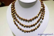 long  freshwater pearl necklace Light Brown Baroque 9x11mm 120cm metal clasp