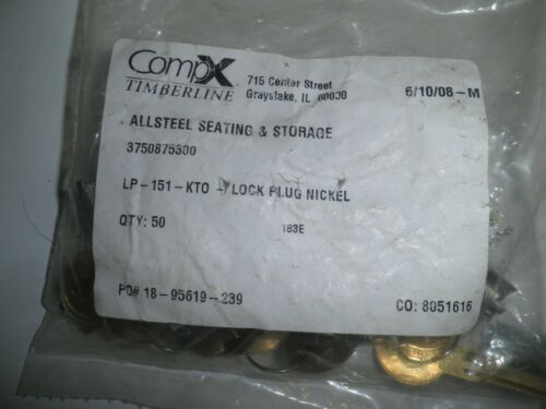 Polished Nickel 10 CompX Timberline Removable LOCK PLUGS Keys and Change Tool