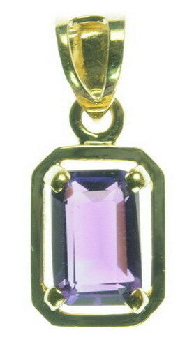 Ladies 14K Yellow gold 1 2CT Emerald Cut Amethyst Solitaire Estate Pendant