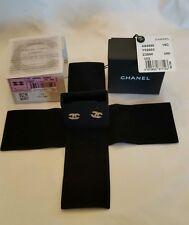 CHANEL 15C Signature  CC Logo GOLD Stud CRYSTAL Earrings Mini AUTHENTIC