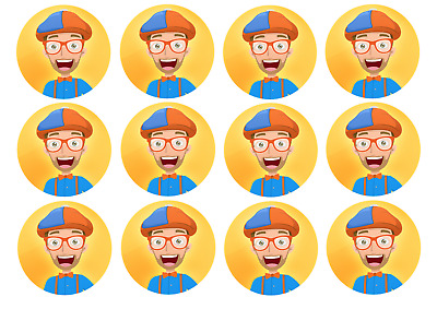 24x EDIBLE Blippi Wafer Paper Party Circle Cupcake Cookie ...