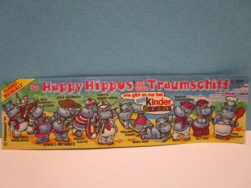 Auswahl Beipackzettel BPZ Die Happy Hippos auf dem Traumschiff  1992  100/% Ori.